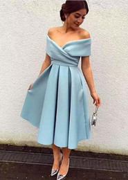 Wholesale Graduation Dresses Free Shipping - Sky Blue Simple Satin Dresses 2017 Summer Tea-Length A-Line Formal graduation Prom Gown For Cheap Free Shipping