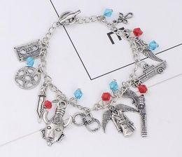 Wholesale Multielement Bracelet - Multielement Stars Wings Dagger Pistol Beads Tassel Charm Bracelets Creative Personality Bohemian bracelet Jewelry