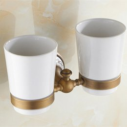 Wholesale Modern Luxury Bathroom - Modern Luxury European Style Golden Copper Toothbrush Tumbler&Double Tumbler Cup Holder Wall Mount Bathroom Accessories