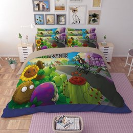 Wholesale Quilts Polyester - 2017 NEW Plants vs Zombies Duvet Cover Set 2PC 3PC 4PC Quilt Cover Bedsheet Pillowcase Twin Full Queen King 2 Designs Fashion Bedding Sets