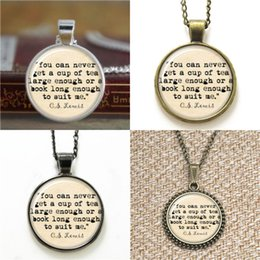 Wholesale lovers cup - 10pcs CS Lewis Cup of tea large enough Book Lover Art Pendant glass Necklace keyring bookmark cufflink earring bracelet