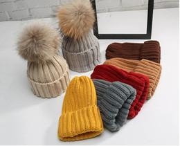 Wholesale Raccoon Fur Balls - Kids Knitted Hats Children Winter Raccoon Fur Hat 15cm Fur Ball Girls Boys Fur pompoms Ball Beanies Cap