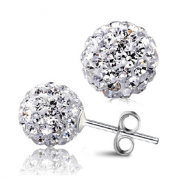 Wholesale Wholesale Gold Disco Ball - 2016 New Fashion Shine Rhinestone Jewelry 4 Size Shamballa Earrings Micro Disco Ball Elegant Crystal Stud Earring for Women