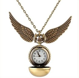 Wholesale Glass Pendant Steel - wholesale unisex mens women girls boys Vintage Bronze pocket watch alloy chain bright ball necklace pendant wing quartz watches