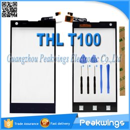 "Wholesale Thl Wholesale - Wholesale- 5.0""inch Touch Sensor For THL T100 T100S Touch Screen Digitizer Panel+Tools+3M Sticker+Track"