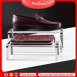 Wholesale Acrylic Handbag Holders - Shoes Stool Shelf Handbag Racks Stainless Steel Transparent Acrylic Holder Glossy Rosy-Gold Free Shipping Fugui display stands