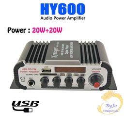 Wholesale Mini Amplifier For Mp3 - HY600 Mini Amplifier Car Audio Amplifier 20W+20W FM Audio MIC MP3 Stereo Amplifier for Motorcycle Car Home use