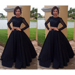 Wholesale Long Sleeved Satin Prom Dresses - Black 2 Piece Prom Dresses Beaded With Long Sleeved A-line Satin Evening Party Gowns Dress Made In China 2017 Vestidos Largos