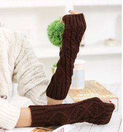 Wholesale Knit Arm Warmers - Wholesale- 2016 New Hot Floral Women wool Arm Winter Warmer Women Long Gloves Winter Fingerless Knit Mittens button 8Colors Long Gloves