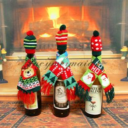 Wholesale Santa Claus Table - 2Pcs set New Xmas Hat Santa Claus Scarf Wine Hold Bottle Cover Christmas Decoration Home Dinner Table Party Bag Supplies M445