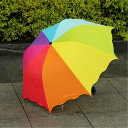 Wholesale High Fashion Umbrella - New fashion Anti UV Multi-Color Sun Protection Rain Rainbow 3 Folding Windproof Umbrella High Quality Free shipping