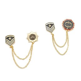 Wholesale Labels For Jewelry - Wholesale 10 Pcs Unisex Badge Brooch Men Label Pin Gold Double-layers Chain Tassel Brooches for Women Fashion Jewelry