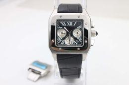 Wholesale Gents Bracelets - Super Clone Luxury Brand SANTO 100 X-Large W20090X8 Black Dial Automatic Mens Watch black Leather Bracelet Gents Sport New Watches