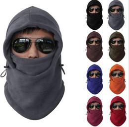 Wholesale neck warmer motorcycle - Men Women Winter Fleece Balaclava Hat Ski Motorcycle Neck Face Mask Hood Cap Unisex Warm Winter Face Mask Hood Hats KKA3569