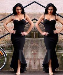 Wholesale Short Sweetheart Nude Prom Dress - 2017 Elegant Black Evening Dresses Mermaid Straps Sweetheart High Low Short Prom Dresses Vintage Cheap Formal Party Wear Red Carpet Dress