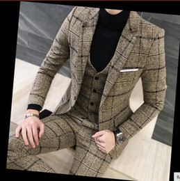 Wholesale Men Wool Dress Suits - 3 Piece Suits Men British Latest Coat Pant Designs Royal Blue Mens Suit Autumn Winter Thick Slim Fit Plaid Wedding Dress Tuxedos