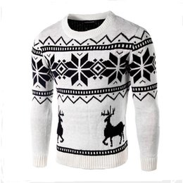 Wholesale Men S Sweater Deer - Wholesale- Mens Sweater With Deer Autumn New Style Neck Man Woolen Sweater Christmas Snowflake Deer Print Soft Pullover Fashion Men Sweater
