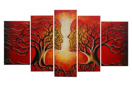 Wholesale Oil Canvas Framed Tree - 100% Handmade Life Tree Oil Painting on Canvas Modern Abstract Kissing Tree Painting Decor Wooden Frame Ready to Hang