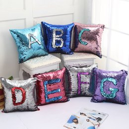 Wholesale Magic Letters - Sequin Pillow Case Letter Pillow Cover Glitter Reversible Sofa Magic Double Reversible Swipe Cushion Cover 2018 New