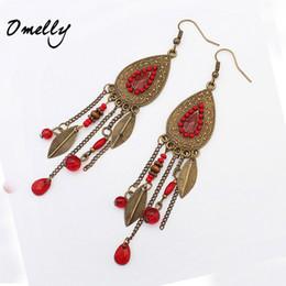 Wholesale Mix Dangling Feather Earring - Feather Earrings Mix Colors Wholesale Jewelry Vintage Boho Bronze Style Bead Dangle Earrings Hot Sale Leaf Feather Eardrop Lady
