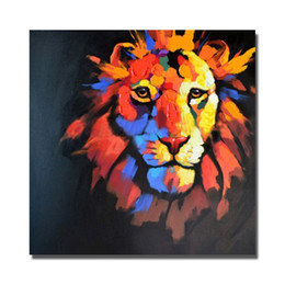 Wholesale Wild Decor - 2016 cheap price promotional items modern home goods wall decor hand painted wild animal lion oil painting