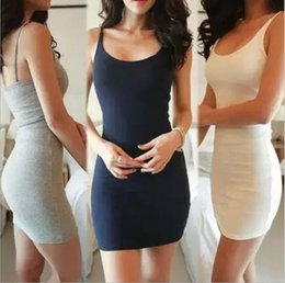 Wholesale Summer Dresses Xl - Summer han edition sleeveless vest dress sexy tight skirt with shoulder-straps render package buttocks cultivate one's morality dress