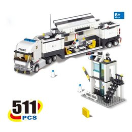Wholesale Kazi Toys - 2017 new KAZI 6727 Police Command Vehicle Building Blocks SWAT Truck 511 Pcs Bricks Educational Toys For Children Birthday Gift