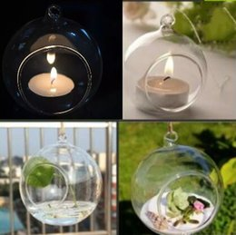 Wholesale Hanging Glass For Air Plant - Tea Light Holder   80MM Glass Air Plant Terrariums Hanging Glass Orb Candle Holder For Wedding Candlestick   Garden Decor   Home Decor GLO