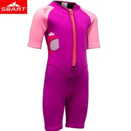 Wholesale Neoprene Swimming - SBART 2mm Neoprene Shorty Wetsuit Kids For Swimming Boys Girls Sunscreen Surfing Scuba Diving Wet Suit Snorkeling Plus Size XXL