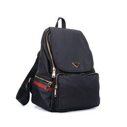 Wholesale Stripe Bag Fashion - 2017 Casual Sport Outdoor Packs Backpack Women Red Green Stripes Unisex Plain Zipper Light Nylon Canvas Fashion School Shopping Bag VK5276