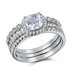 Usa 925 anelli d'argento online-Spedisci dagli USA 925 sterling silver 3 pezzi set di anelli di nozze per le donne gioielli di tendenza banda di fidanzamento