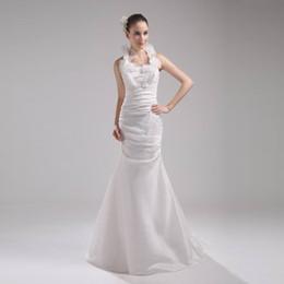 Vestido novia satin avorio online-2017 Stunning Wedding Mermaid Dress Ivory Satin Halter Vintage Style Abito da sposa spedizione gratuita Vestido De Novia