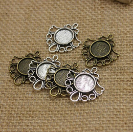 Wholesale Filigree Cabochon Settings - 100pcs Antique Bronze Metal Cameo Flowers Filigree 26*29mm (Fit 12mm) Round Cabochon Pendant Setting Jewelry Blank Findings