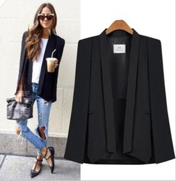 Wholesale Suit Jacket Women Designs - Hot Fashion Casual Woman's Blazers Female Sleeve Cape Suit Workwear Jacket Unique Design European holes Ripped denim jeans boyfriend jeans
