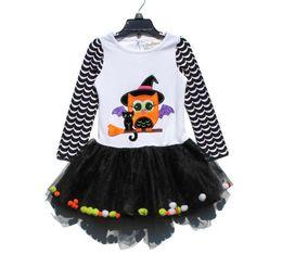 Wholesale Owl Tutu - New Halloween girl dress owl dress kids party dress long sleeve tutu clothing 10 p l