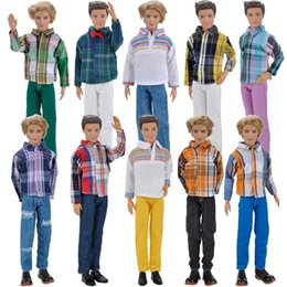 Wholesale Doll Accessories Shoes - E-TING Doll Clothes Casual Wear Long Sleeves Plaid T-Shirt Pants Trousers Outfits Set For Barbie Ken Doll Accessories Shoes