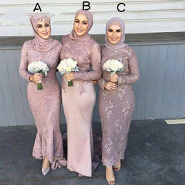 Wholesale Champagne Color Tea Dress - High Quality Satin Long Sleeve Muslim Bridesmaid Dresses With Hijab Lace Applique Sheath Wedding Guests dama de honra adulto