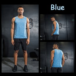 Wholesale Reflective Running Clothes - Running Men Promotion Men's Sleeveless Running Reflective Vest Quick Dry Shirt Breathable Sport Gym Clothing Fitness Tank Tops Summer