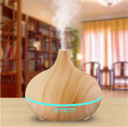 Wholesale ultrasonic aroma diffuser - 300ML Air Aroma Essential Oil Diffuser LED Ultrasonic Aroma Aromatherapy humidifier Mist Purifier maker wood grain shap