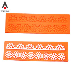 Wholesale Silicone Lace Mats - Wholesale- Lovely Lace Silicone Sugar Mold Baking Flower Border Mat Cake Decoration Tool for Fondant Cake Cupcake Decorating Tools