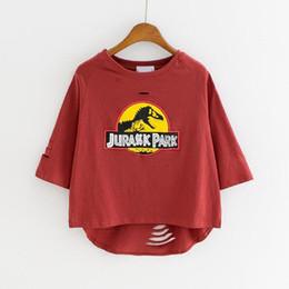 Wholesale Cute Dinosaur T Shirt - Women T-shirt Casual Harajuku Cute Cartoon Dinosaur Letter Print Crop Top 2017 Summer Half Sleeved Loose Hole T-shirt