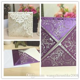 Wholesale Cheap Greetings Cards - Gold Red Personal Customization Folded Wedding Invitations 3D Pop Up Floral Hollow out Cheap Wedding Greeting Accessories Card free shipping