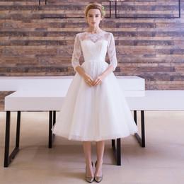 Wholesale Lining Shirt Sale - Cheap Lace Tea-Length Wedding Dresses Half Sleeve Sheer Neck Tulle Jewel Custom Made Vintage Beach A-Line Zipper Hot Sale Design Bridal Gown