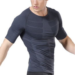 Wholesale Compression Baselayer - New Mens Cool Dry Baselayer Compression Short Sleeve T Shirts for Running Training and Gym Exercise Free Shipping