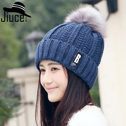 Wholesale Korean Winter Ladies Fashion Woolen - Korean winter outdoor plus cashmere woolen hat lady B thick letter hair ball knitted cap ear warm tide