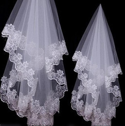 Wholesale Single Layer Fingertip Veil - 2017 cheap Bride veil 1.5 m white single lace tulle applique edge bridals accessories free shipping