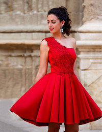 Wholesale Sparkly One Shoulder Homecoming Dresses - Sparkly Red One Shoulder Cocktail Dresses Lace Satin Short Formal Party Dress Backless Mini Prom Evening Gowns 2017 Homecoming