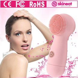 Wholesale Face Scrub Brushes - 2017 Skineat Face Cleansing Brush Bueaty Silicone Private Mould facial clean machine for anti-acne oil dirt Blackhead SPA Scrub Cleanser