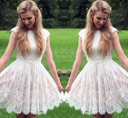 Wholesale Dresses For Young Girls - High Neckline Short Homecoming Dresses With Short Capped Sleeves Beaded Lace Sash Mimi Prom Dresses Custom Made Cocktail Gown For Young Girl