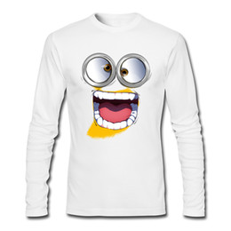 Wholesale Tee Shirt Minions - De minion Popular funny big eyes mouth cartoon printed sweatshirt 100% cotton crew neck slim T-shirt men's long sleeve tee shirt.